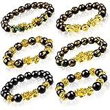 6 Pieces Chinese Feng Shui Bracelet 12 mm Feng Shui Black Obsidian Wealth Bracelet Adjustable Elastic Wealth Bracelet with Pi