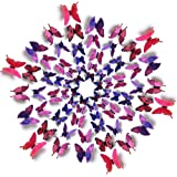 Amaonm 60 Pcs 5 Packages Beautiful 3D Butterfly Wall Decals Removable DIY Home Decorations Art Decor Wall Stickers & Murals f