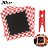 20 Pieces Picnic Party Chalkboard Cards BBQ Theme Mini Blackboard Red Gingham Chalkboard with 20 Pieces Wooden Clips for Baby