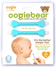 oogiebear - The Safe Baby Nasal Nooger and Ear Cleaner - and Registry Essential Snot Removal Tool - Two Pack - Blue