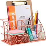 Rose Gold Desk Organizer with 6pcs Metal Paper Clips, FBve All in One Metal Desktop Organizer - Pen, Memo, Business Card, Pap