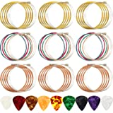 9 Sets Acoustic Guitar Strings Replacement Steel Guitar Strings (Gold, Brass, Multicolor) with 9 Pieces Celluloid Guitar Pick