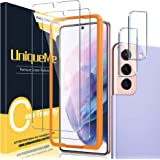 UniqueMe (ユニークミー) 6.7インチ強化ガラス+カメラレンズプロテクター 2+2パック Samsung Galaxy S21 Plus / S21+ 5G用 スクリーンプロテクター 簡単取り付けフレーム付き [Samsung S21 6.