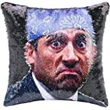 K T One The Office Dwight Mask Mermaid Sequins Pillow Cover, Magic Reversible Throw Pillow Case Without Insert Change Color D