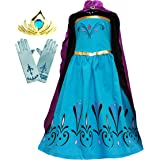 Cokos Box Girls Elsa Coronation Dress Costume Cape Gloves Tiara Crown Accessories Set