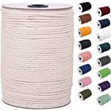 Macrame Cord 3mm x 220Yards | 100% Natual Macrame Cotton Cord | 3 Strand Twisted Cotton Rope for Wall Hanging, Plant Hangers,