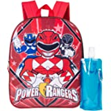Power Rangers Backpack Combo Set - Power Rangers Boys' 3 Piece Backpack Set - Backpack, Waterbottle and Carabina, Black/Red (