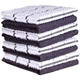 Terry Cotton Dishcloth Set of 8 (12 x 12 Inches), Gray, 100% Cotton, Highly Absorbent Kitchen Dish Cloths, Machine Washable b