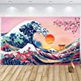 Sumind Ocean Wave Wall Hanging Photo Banner Japanese Kanagawa Backdrop Great Wave Cherry Blossom Nature Background for Japane