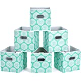 MaidMAX Fabric Storage Bins, Set of 6 Foldable Cloth Storage Cubes Organizers Drawers Containers with Dual Plastic Handles fo
