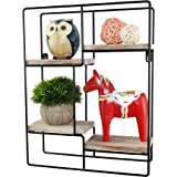 Spiretro Wall Mount Rectangle Cubby Metal Wire Storage Rack, Floating Shelf, Rustic Torched Wood with Espresso Bracket to Org