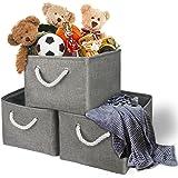 TheWarmHome Storage Bins Baskets for Shelves|Fabric Storage Bins for Cloth Storage [3-Pack] Bathroom Storage Baskets for Clos
