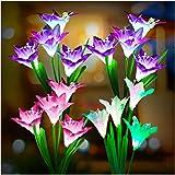 Outdoor Solar Lights, KOOPER 4 Pack Solar Garden Lights with 16 Bigger Lily Flowers, Waterproof 7 Color Changing Outdoor Ligh