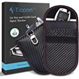 Faraday Bag for Key Fob (2 Pack), TICONN Faraday Cage Protector - Car RFID Signal Blocking, Anti-Theft Pouch, Anti-Hacking Ca
