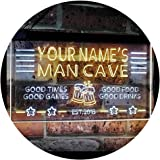 Personalized Name Custom Man Cave Home Bar Est. Year Dual Color LED Neon Sign White & Yellow 300 x 210 mm st6s32-x0012a-tm-wy