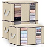 king do way Closet Organizer Clothes Storage Bags Large Capacity Storage Organizers with Reinforced Handle,Stainless Steel Zi