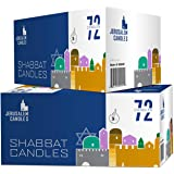 Shabbat Candles - Traditional Shabbos Candles - 3 Hour - 72 Count, Wax, White, 2-Pack