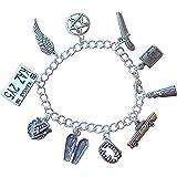 Night Owl Jewelry スーパーナチュラル チャームブレスレット ピューターチャーム シルバーメッキチェーン デーモンハンター ハンドメイド サイズXSからXL