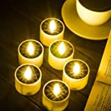 SoulBay 6pcs Solar Power Tea Lights Outdoor Candle Flameless Flicker IP65 Waterproof Rechargeable LED Candles with Dusk to Da