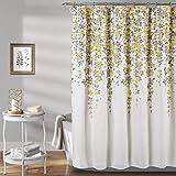 "Lush Decor Weeping Flower Shower Curtain - Fabric Floral Vine Print Design, 72"" x 72"", Yellow & Gray"