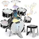 BEAURE Jazz Drum Set for Kids with Light Sound Microphone Compatible with Computer/Mobile Phone/MP3 Musical Playset Education