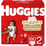 Huggies Little Snugglers Baby Diapers, Size 2 (up to 12-18 lb.), 180 Ct, Economy Plus Pack (Packaging May Vary)