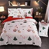 A Nice Night Christmas Deer Printed Bedding Sets Quilt Cover Set No Comforter (Christmas-Style 02, King)