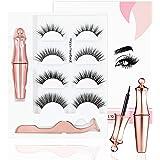 Magnetic Fake Eyelashes Kit, New Upgrade With Waterproof Eyeliner,5D Faux Mink Lashes Cross Fluffy Soft Natural Eyelashes Reu