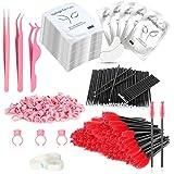 Eyelash Extension Supplies Kit Includes Lash Extension Tweezers Set, Disposable Eyelash Mascara Brush Wands, Under Eye Gel Pa