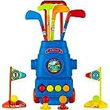 toyvelt Kids Golf Club Set Golf Cartwith Wheels, 3 Colorful Golf Sticks, 3 Balls & 2 Practice Holes Fun Young Golfer Sports T