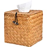 Akamino Tissue Box Cover Square Woven Facial Tissue & Napkin Holder Pumping Paper Case Dispenser for Home Office Car Decorati