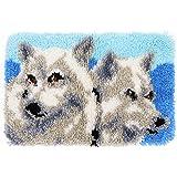 MLADEN DIY Crochet Yarn Kits,Needlework Latch Hook Kit Unfinished Crocheting Rug Yarn Cushion Embroidery Carpet Set Wolf,19.5
