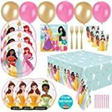Disney Princess Party Decorations - Deluxe Disney Princess Birthday Party Supplies Set For 16 Guests Includes Table Decor & B