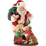 """Department 56 Santa and his Pets Mistletoe and Holly, 10"""" Figurine, Multicolor"""