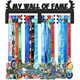 BORNTOWIN My Wall of Fame Medal Holder Display Hanger Rack,Sturdy Black Steel Metal,Wall Mounted Over 50 Medals