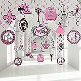 30 Pieces Paris Party Decorations, Pink Paris Party Hanging Swirl Ooh La La Eiffel Tower Sign Foil Ceiling Streamers Decor fo