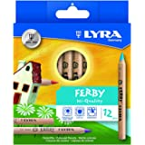 Lyra Ferby - Natural Wood Finish Colouring Pencils - Jumbo Triangular Shape - Pack of 12 Assorted Colours