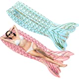 SPERPAND 2 Pack Inflatable Mermaid Tail Pool Float, Swimming Pool Floats Mermaid Tail Floatie Lounge Raft, Summer Beach Party