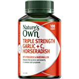 Nature's Own Triple Strength Garlic + C, Horseradish - Supports Immune System Function - Traditionally used to Relieve Cough,