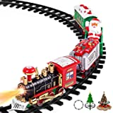 """AOKESI Toy Train Set with Lights and Sounds - Christmas Train Set - 30"""" Diameter Round Shape Railway Tracks for Under The Chr"""