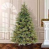 温かみのある白いライトが付いているプレベッドのモミの人工的なクリスマスツリー、折り畳み式のスタンドが付いている綿毛の蝶番を付けられたクリスマスツリー家の休日の装飾のための古典的なクリスマスツリー-緑210cm / 7ft