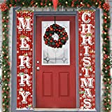 Fecedy MERRY CHRISTMAS Hanging Banner Porch Sign With Pattern Christmas tree Presents Snow Banner For Home Yard Indoor Outdoo