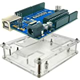 EEEEE UNO R3 ATMEGA328P ATMEGA16U2 & Acrylic Case Enclosure, (2 in 1), Clear Transparent Box with USB Cable Compatible with A