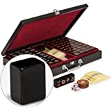 Yellow Mountain Imports Chinese Mahjong Game Set - Jet Set - with 148 Black Tiles and Wooden Case, Wooden Spinner, Dice, and