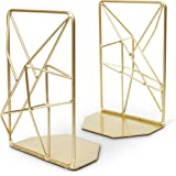 OPAL TREE Premium Geometric Bookends with Matte Finish - Decorative Iron Book Stoppers - Industrial/Home/Office Creative Shel