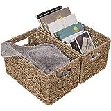 "StorageWorks Seagrass Wicker Storage Baskets, Rectangular Hand-Woven Basket with Handle, 12.9"" x 8.3"" x 7"", 2-Pack"