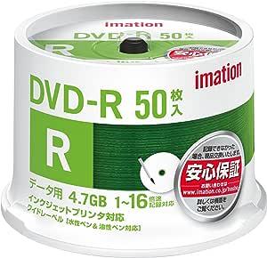 イメーション データ用DVD-R 4.7GB 16倍速 インクジェットプリンタ対応・ホワイトワイドレーベル 50枚パック スピンドルケース入り DVDR4.7PWB50SAIM