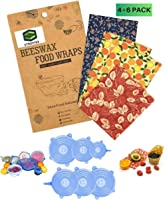 Reusable 4 Beeswax Food Wraps and 6 Silicone Stretch Lids, Sustainable, Plastic Free Alternative for Food Storage, Eco...