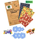 Reusable 4 Beeswax Food Wraps and 6 Silicone Stretch Lids, Sustainable, Plastic Free Alternative for Food Storage, Eco friend