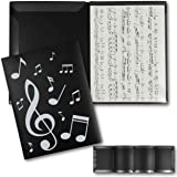 Sheet Music Folder with 4-Sided Pockets (11.8 x 9 Inches, Black, 2-Pack)